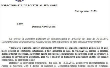 Veste bună: dosar penal şi verificări interne la IPJ Gorj după o investigaţie gorjNEWS.ro