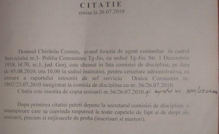 Represalii securiste jegoase la Poliţia Comunitară Târgu Jiu