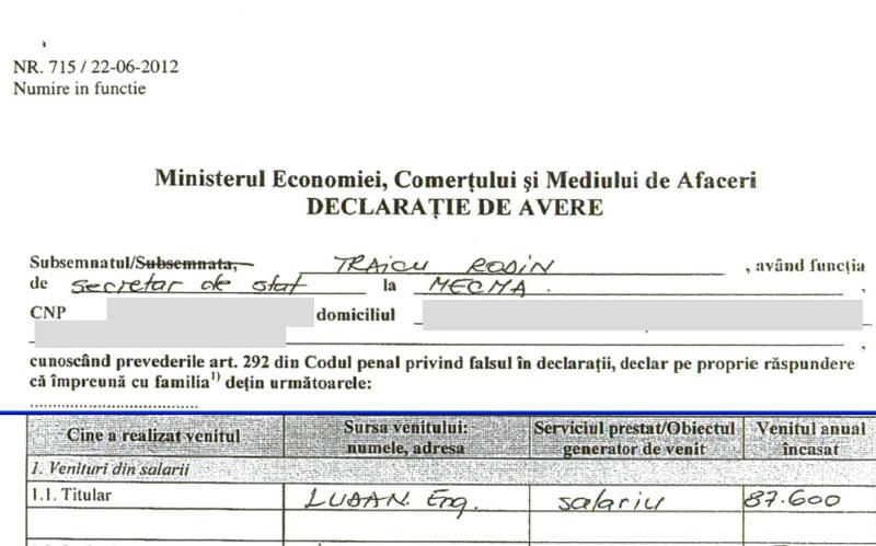 Secretarul de stat Traicu, omul de legătură al miliardarului Tender cu C.E. Oltenia