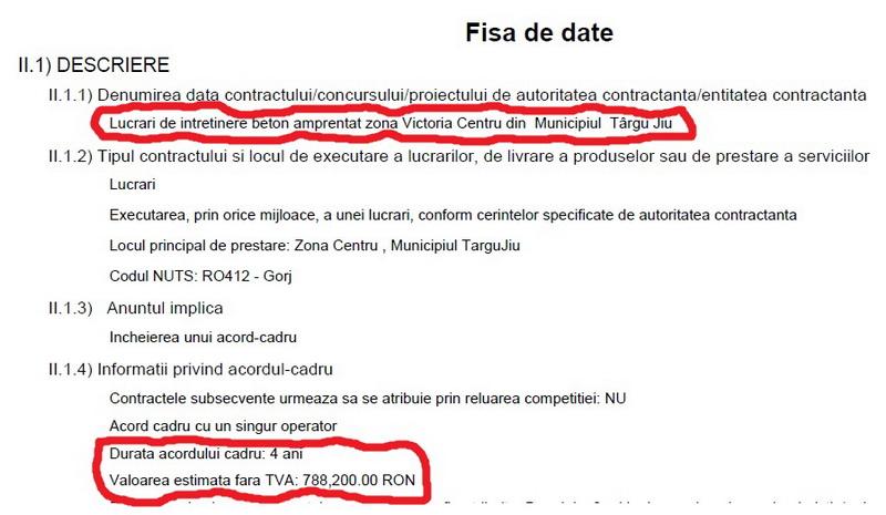 Prostia din Primăria Târgu Jiu se plătește: licitație de 10 miliarde pentru întreținerea betonului amprentat!