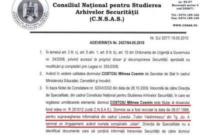 Turnătorul Costoiu, omagiat de victimele de la Colegiul Național Tudor Vladimirescu !