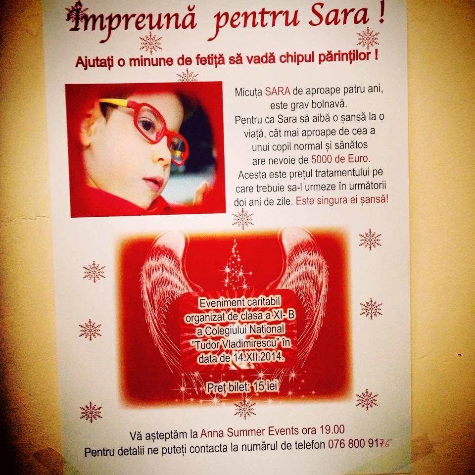 O șansă la viață, pentru micuța Sara Florescu!