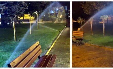 Damblageală totală: aspersoare pornite pe ploaie, la Târgu Jiu!